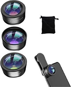 Mobile Phone 3 in 1 Camera Lens Kit,198 Degree Fisheye Lens + 120 Degree Wide-Angle Lens + Macro Lens,Suitable for iPhone, ipad and Most Android Phones