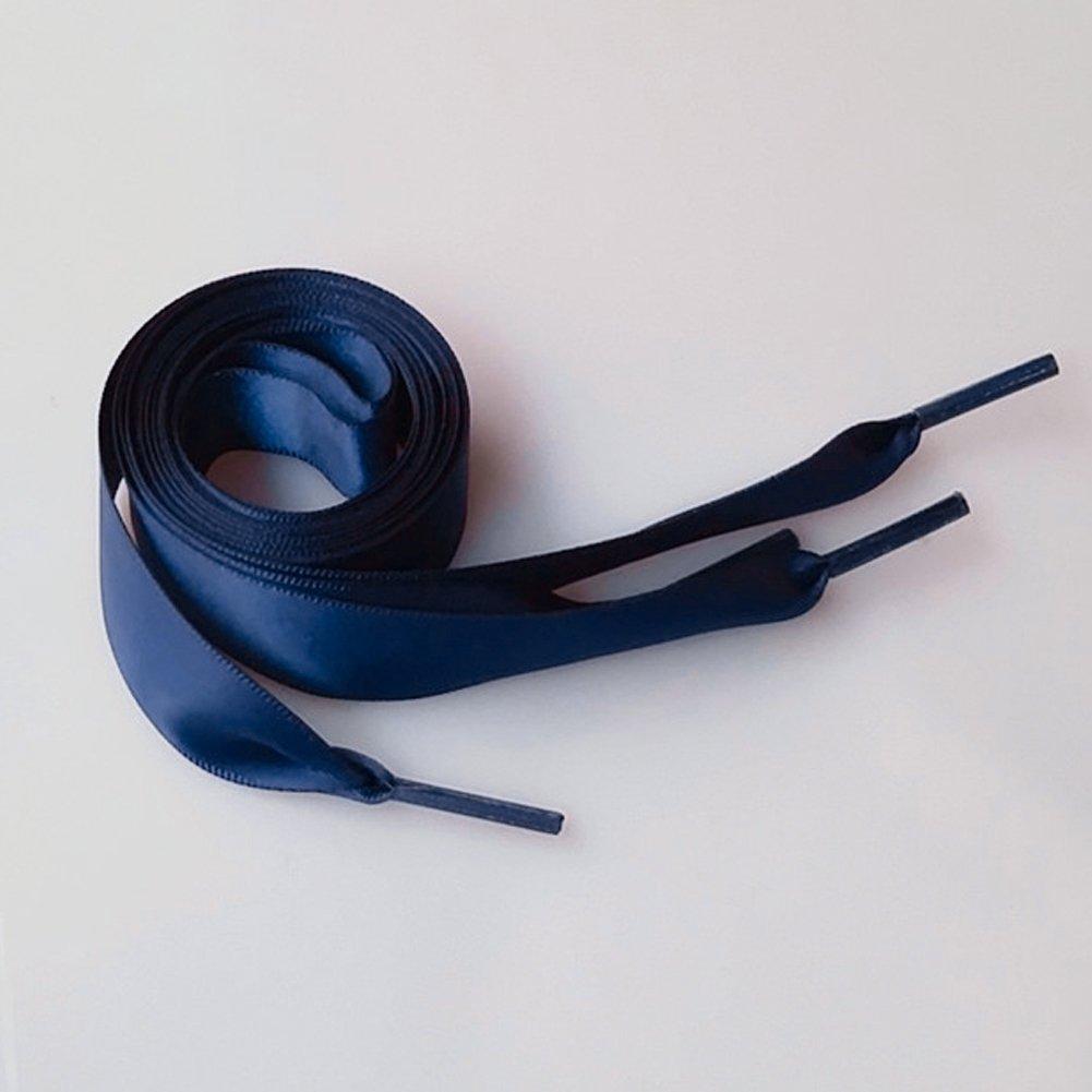 Sdkmah9 1 par de cordones de satén de 2 cm de ancho, varios colores, de seda, para zapatillas deportivas, Púrpura oscuro