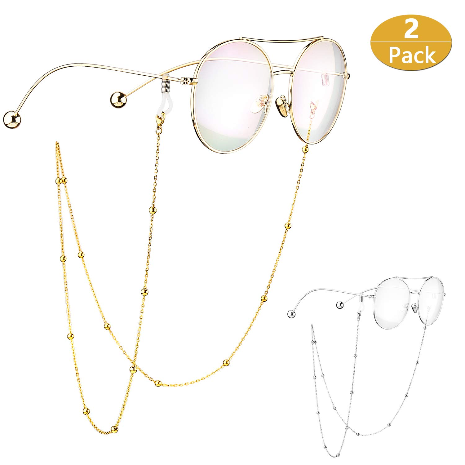 2 Pack Beaded Stainless Steel Glasses Chain Sunglass/Eyeglass Chain Cord Glasses Strap Cord Holder Neck Strap for Women(Gold and Silver) S'Wonderland