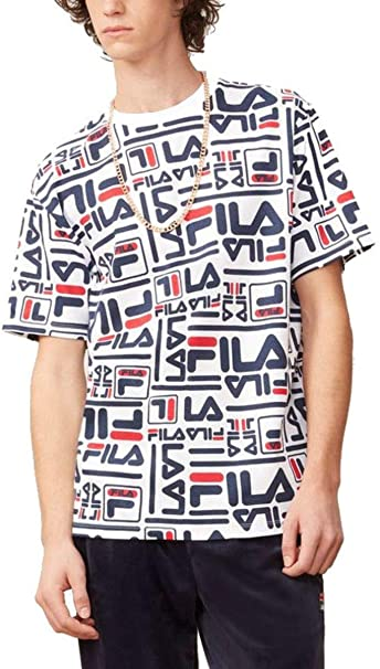 5a61cd9dc2e8 Fila Charlie All Over Print T-Shirt White Navy Red - Various Sizes   Amazon.co.uk  Clothing