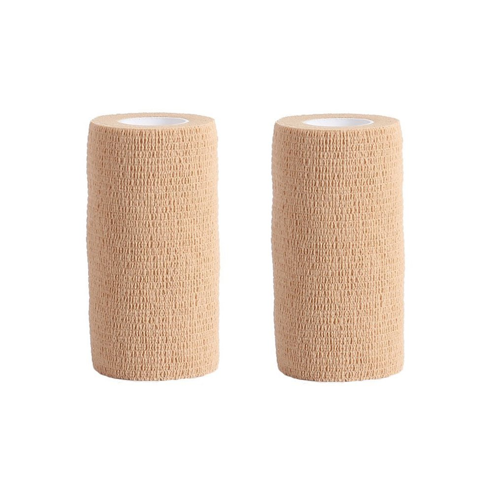 Cohesive Bandage - 2 Rolls x 10cm x 4.5m First Aid Pet Vet Wrap Bandages (skin color) COBOX 450-10cm