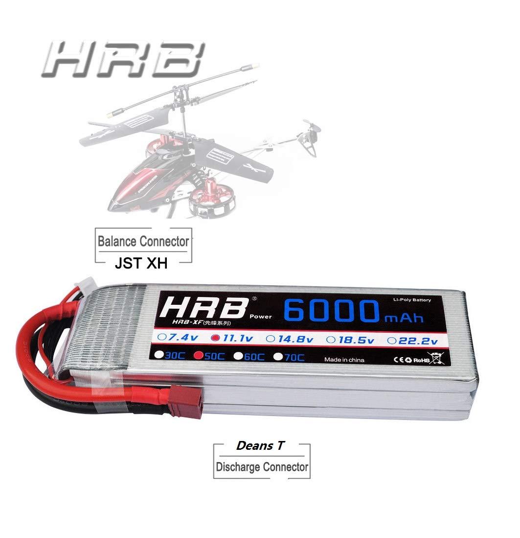 HRB RC Batería LiPo 6000mAh 11.1V 50C 3S con Enchufe Deans-T para el Aeroplano de RC Car Drone Heli Barco UAV Drone FPV: Amazon.es: Juguetes y juegos