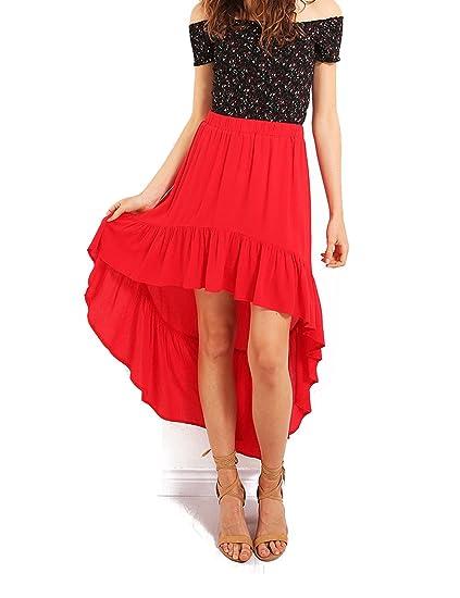 95309403 Justalwart Flounce Dip Hem Mini Skirt Front Short Black Long Skirts for  Women