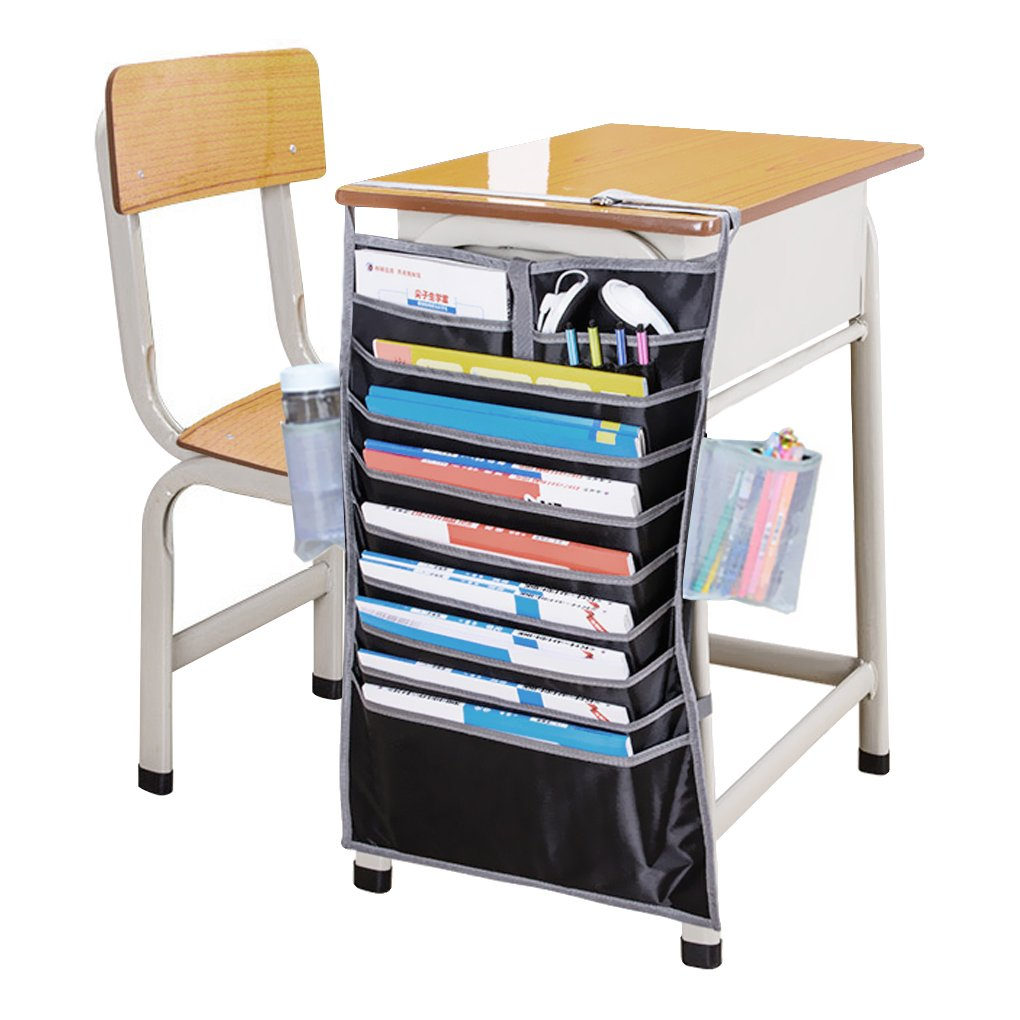 Heavy-Duty Oxford Large14 Pockets Desk Mount Hanging Caddy Organizer Students Classroom Book File Pens Holder Water Bottle Cellphone Pouch Stationery Storage Bag Office Furniture Bookcase Shelf Rack