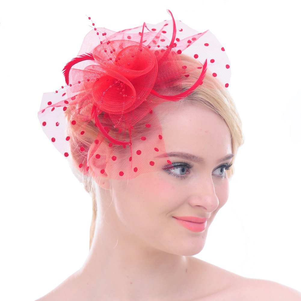FAYBOX Big Flower Mesh Bow Feather Women Fascinator Dot Veil Hair Clip Wedding XTS10061BLK