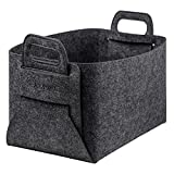KUMFI Felt Storage Basket Foldable Handmade Collapsible Organizer Containers For Kids Toy Chests Clothing Laundry(1 PACK)