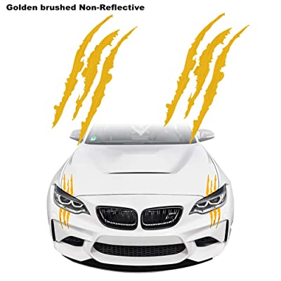 KE-KE Claw Marks Decal Non-Reflective Sticker Waterproof Headlight Decal Vinyl Sticker Decal for Sports Cars 2PCS (Gold Brushed Metal Texture): Automotive