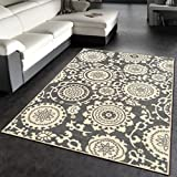 Kapaqua Rubber Backed 2-Piece Rug SET Floral Swirl Medallion Grey & Ivory Non-Slip Area Rug - Rana Collection Kitchen Dining Living Hallway Bathroom Pet Entry Rugs RAN2033-2PC