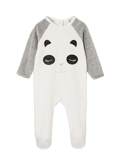 207edfbc1 VERTBAUDET Pijama de terciopelo para bebé, con automáticos detrás BLANCO CLARO  LISO CON MOTIVOS 1M