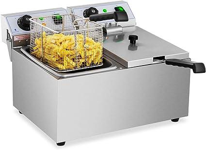 Royal Catering Freidora Electrica Profesional Doble Para Hostelería RCEF 08DB (2 x 8 Litros, Potencia 2 x 3.200 Watt, Temperatura: 50 – 200 °C, Zona ...