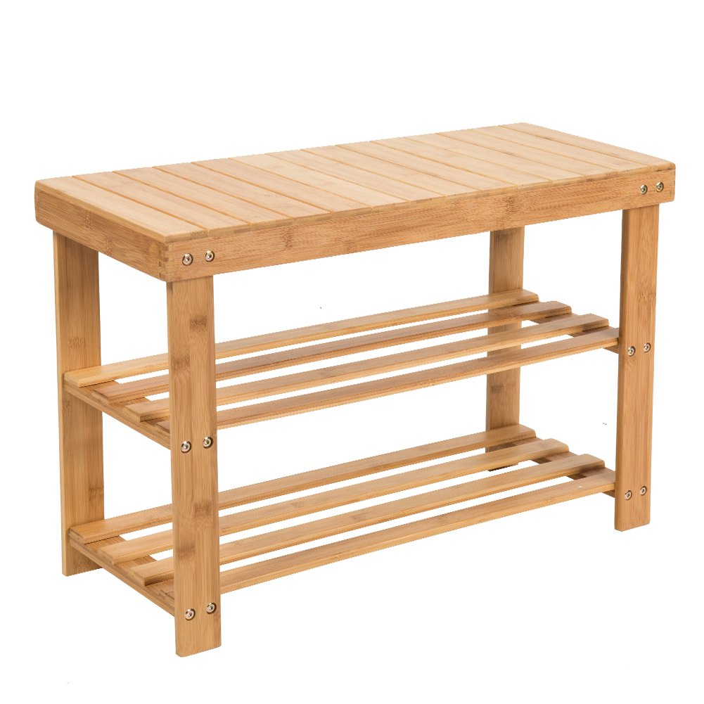 SMAGREHO Natural Bamboo Shoe Bench 2 Tier Shoe Rack Organizer Entryway Seat Storage Shelf