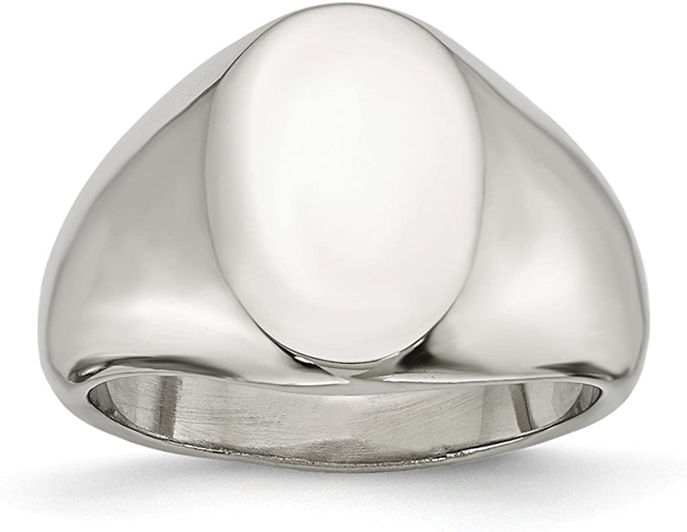 Stainless Steel Polished Oval Signet Ring Size 9 Length Width