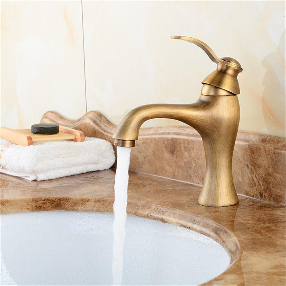 MEIBATH Waschtischarmatur Badezimmer Waschbecken Wasserhahn Küchenarmaturen Retro Warmes und Kaltes Wasser Messing 1 Bohrung Heißes und Kaltes Wasser Küchen Wasserhahn Badarmatur