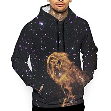 82f0c0fe3 QQZXD Space Galaxy Elephant Fashion Men s Pullover Hoodie Sweatshirt White