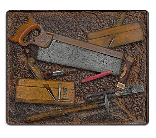 Price comparison product image Luxlady Mousepad vintage woodworking tools over rusty industrial metal plate IMAGE 28133973