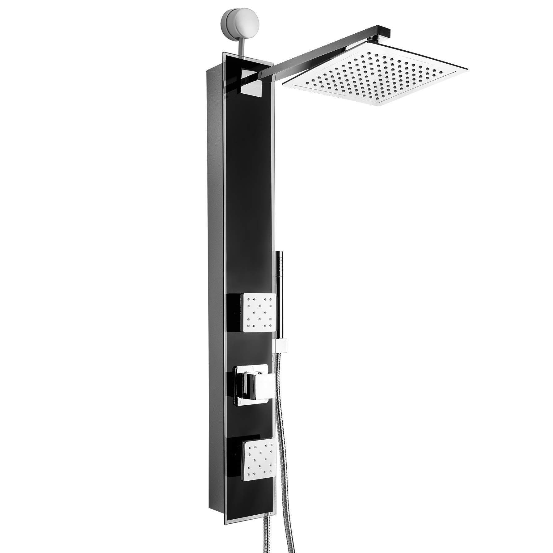 AKDY 35'' Black Tempered Glass Wall Mount Easy Connection Bathroom Multi-Function Shower Tower Panel w/Rainfall Head Dual Massage Sprays