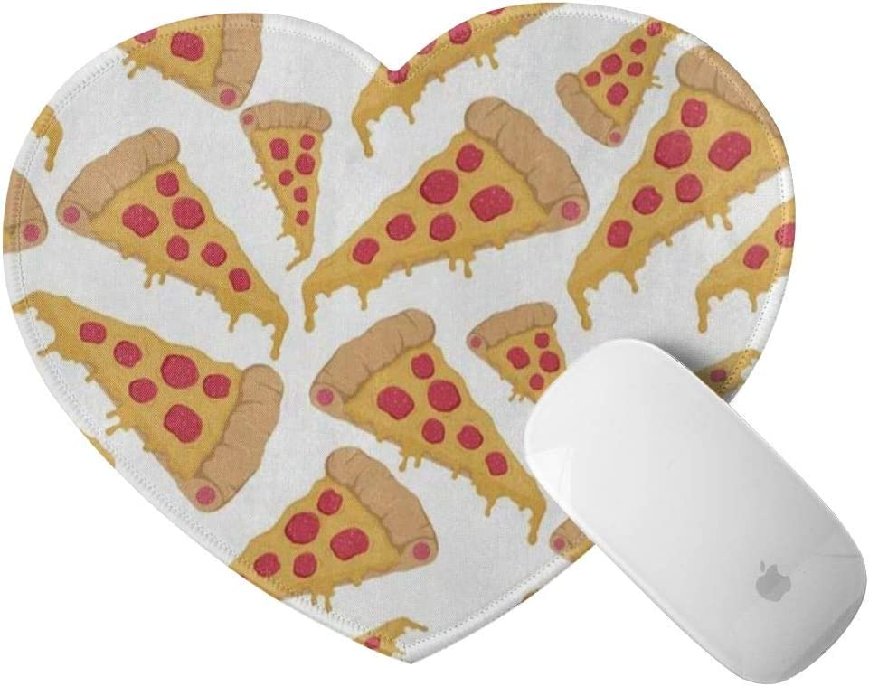 Cute Heart Shaped Mouse Pad Cartoon Pizza Food Small Mousepad Black Rubber Base Mouse Mat for Laptop Computer Womens Girls, Anti-Slip, 8