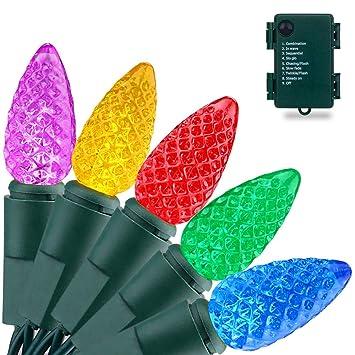RECESKY C3 Bulbs Christmas String Lights with Timer - 50 LED 16.4ft Battery  String Lights - Amazon.com : RECESKY C3 Bulbs Christmas String Lights With Timer