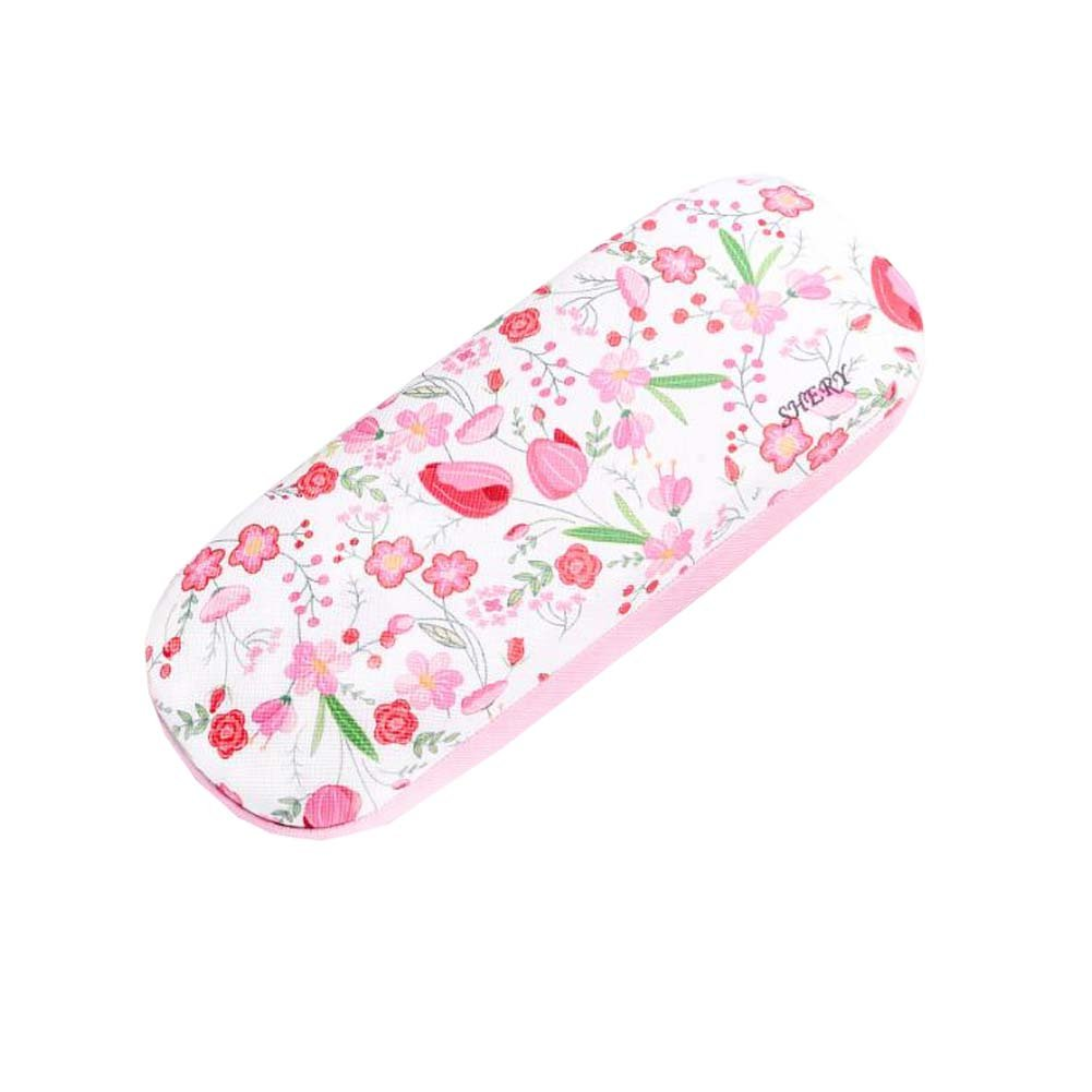 Flower Fabric Covered Clam Shell Style Eyeglass Case Spectacles Box
