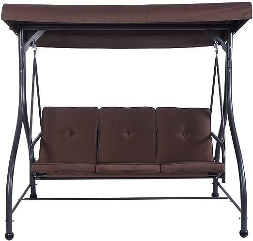 Premium Patio silla columpio para 3 personas con toldo y cojines de empresa Juego Perfecto para Patio, jardín, exterior, porche y piscina.: Amazon.es: Jardín