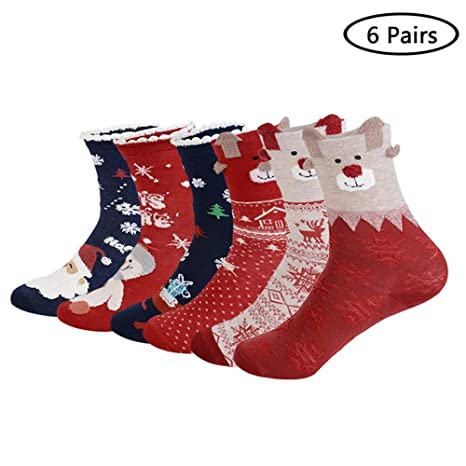 Calcetines de Navidad 6 / 12 Pares Algodón Calcetín Dibujos Animados Antideslizante Otoño Invierno Primavera Christmas