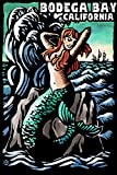 Bodega Bay, California - Mermaid - Scratchboard
