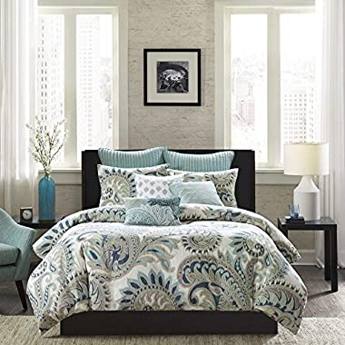 INK+IVY Mira 200TC Comforter Set, King, Blue