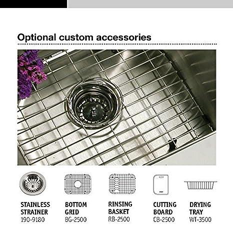 Houzer 2522-8BS4-1 Glowtone Series Topmount Stainless Steel 4-holes Single Bowl Kitchen Sink 8-Inch Deep