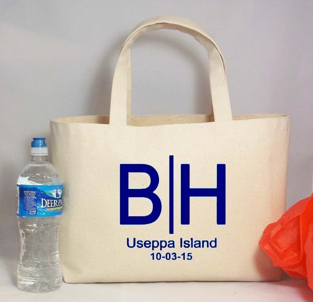 Personalized Destination Wedding Logo Canvas Beach Tote Bag