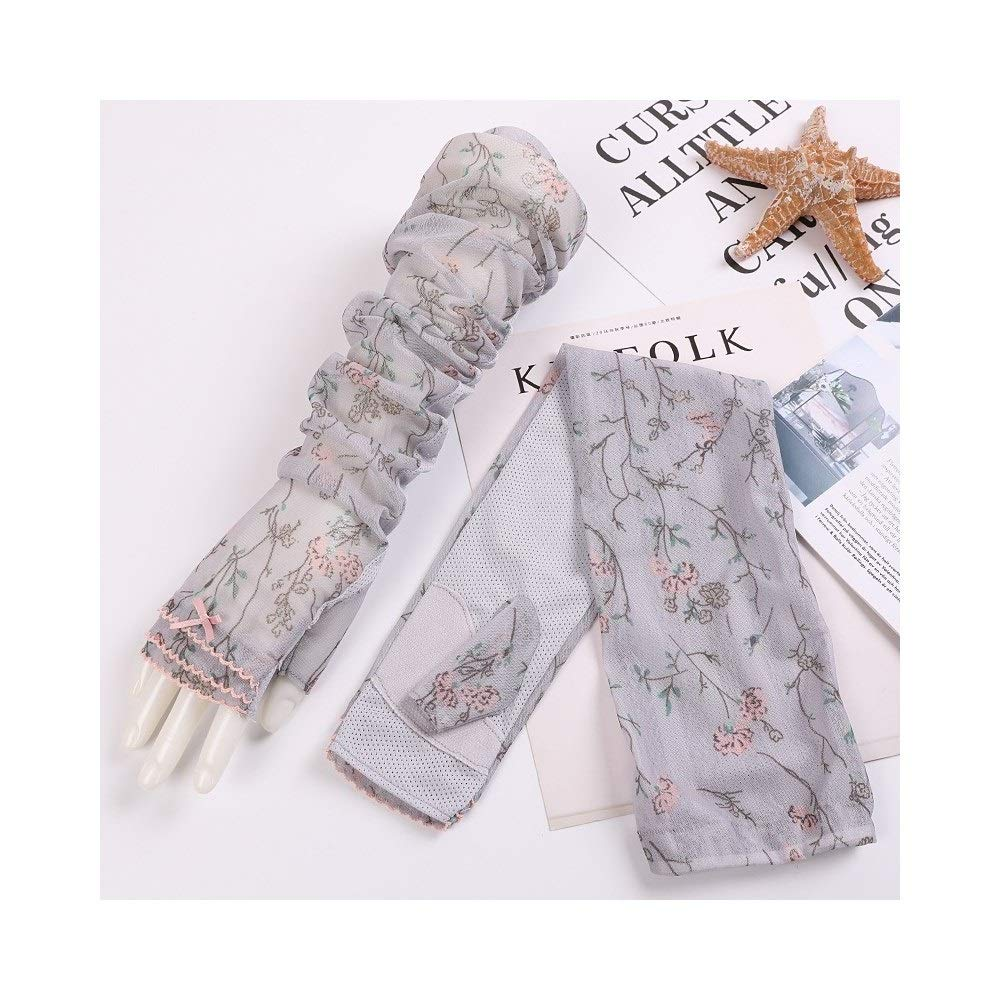 UV Protection Gloves Lace Long Sleeve Thin Section Flower Arm Sleeve Arm Guard (Color : Gray, Size : One size-Five pairs) by RRMY-Working Gloves