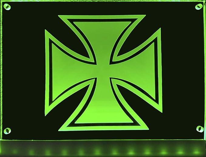 Led Schild Eisernes Kreuz 20x15 Cm Leuchtschild Lasergraviert Edles Beleuchtetes Schild Als Truck Accessoire Beleuchtetes Eisernes Kreuz Für Den 12 24volt Anschluss Auto