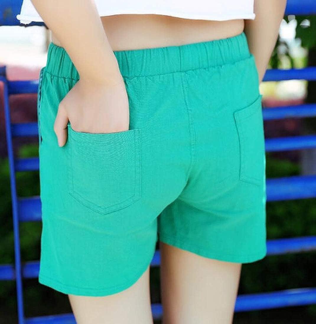 Etecredpow Womens Sport Casual Cotton Linen Summer Straight Tie Waist Shorts