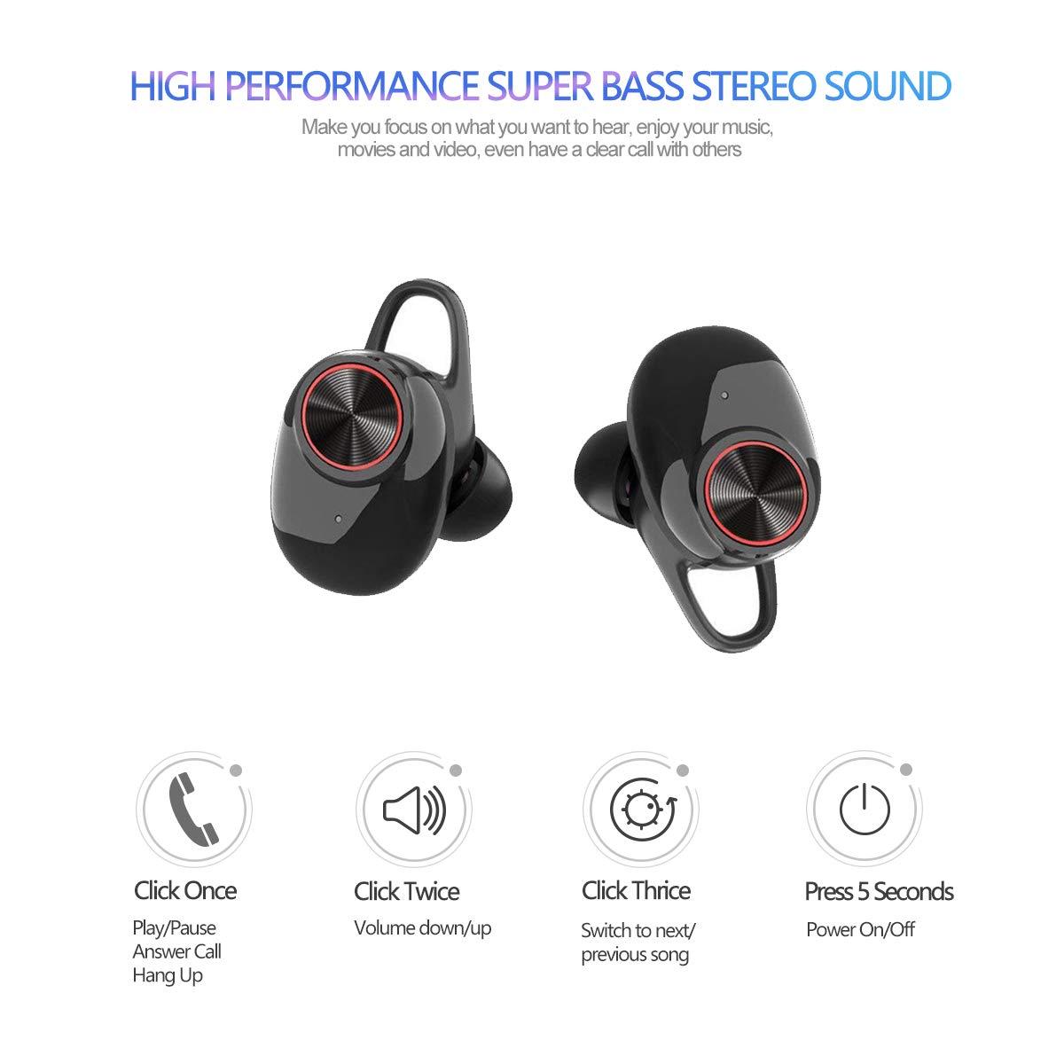 MINLUK Mini Auricular Bluetooth 5.0 Inalambricos Invisible, TWS Auriculares Bluetooth Manos Libres Deportivo IPX5 Estéreo y Cancelación de Ruido, ...