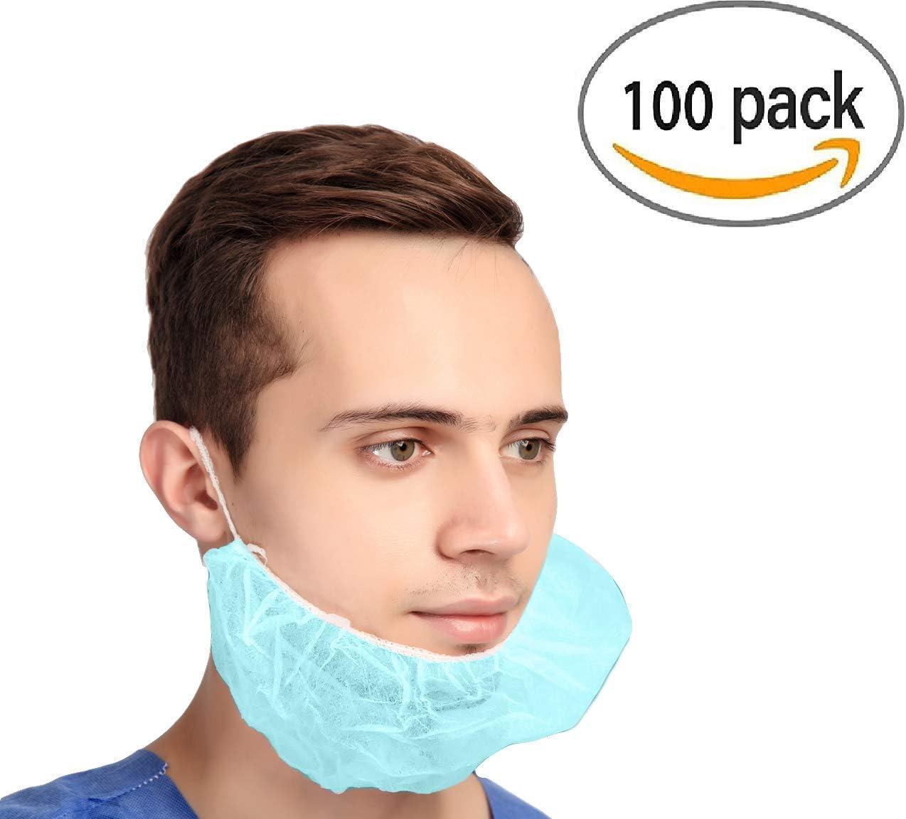 Breathable /& Lightweight. Blue Beard Guards Single Loop 100 Pack of Disposable Beard Covers 18 Heavy Duty Beard caps Premium Quality Beard Protectors Facial Hair Covering