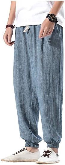 YAXINHE Men Waistband Stretchy Chinese Style Cotton Linen Harem Pants Pants