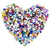 craft gems blue - Blulu 600 Pieces Gems Acrylic Craft Jewels Flatback Rhinestones Gemstone Embellishments Heart Star Square Oval and Round, 6 to 10 mm, Assorted Color