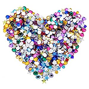 Blulu 600 Pieces Gems Acrylic Craft Jewels Flatback Rhinestones Gemstone Embellishments Heart Star Square Oval and Round, 6 to 10 mm, Assorted Color