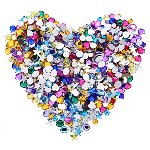 Blulu 600 Pieces Gems Acrylic Craft Jewels Flatback Rhinestones Gemstone Embellishments Heart Star Square Oval and Round, Assorted Color (6 to 10 mm)