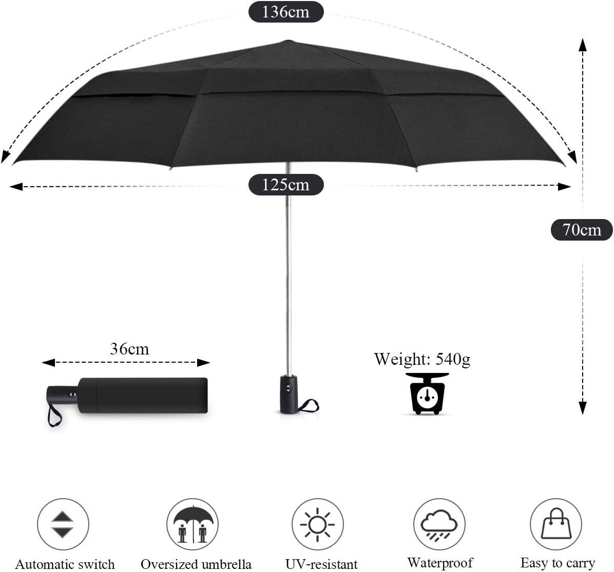 MARCELEN Homme Parapluie Pliant Automatique Ouvrir Parapluie Entreprise Voyage Anti-UV Ombrelle /étanche Portable Parapluie Voyage Bleu