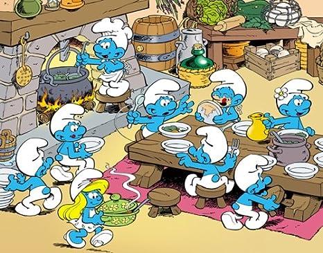 MB - Puzzle enfant - Puzzles 45 Pièces Les Schtroumpfs : Repas Près De La Cheminée