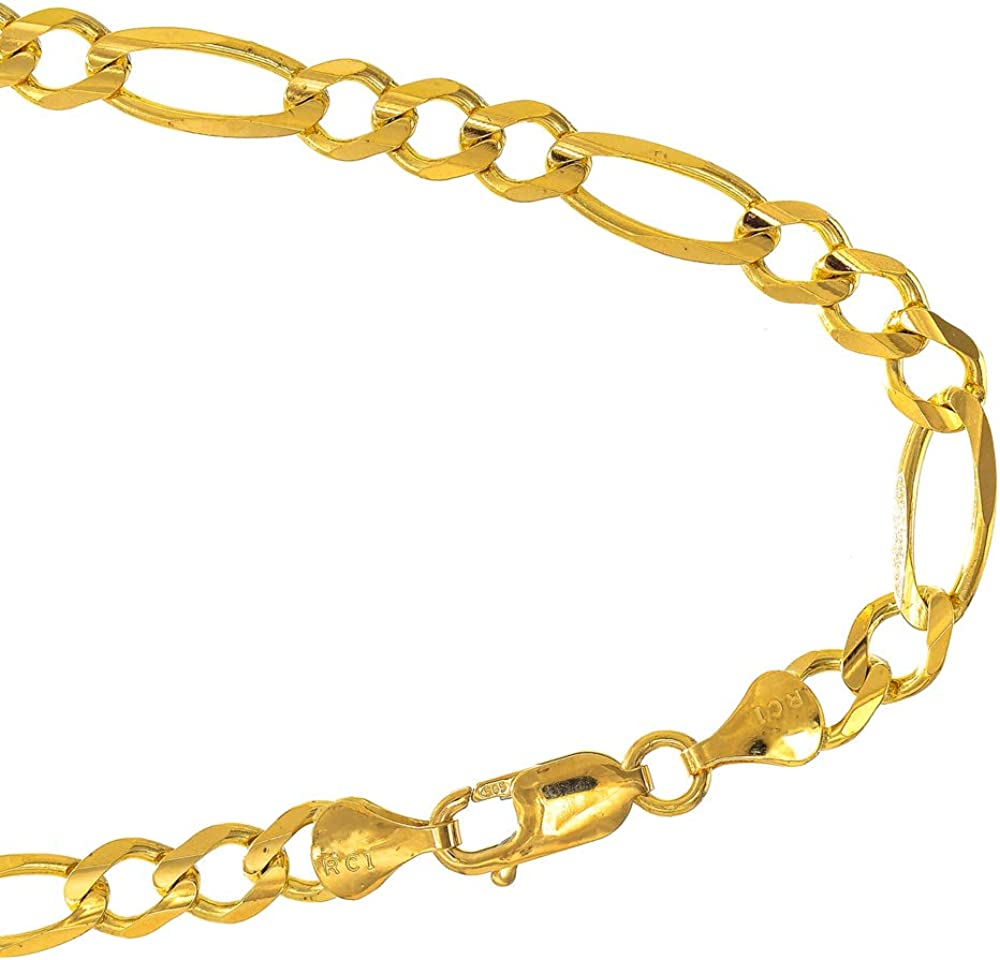 10k Solid Yellow Gold 4.5 mm Figaro Chain Bracelet, Lobster Claw Clasp
