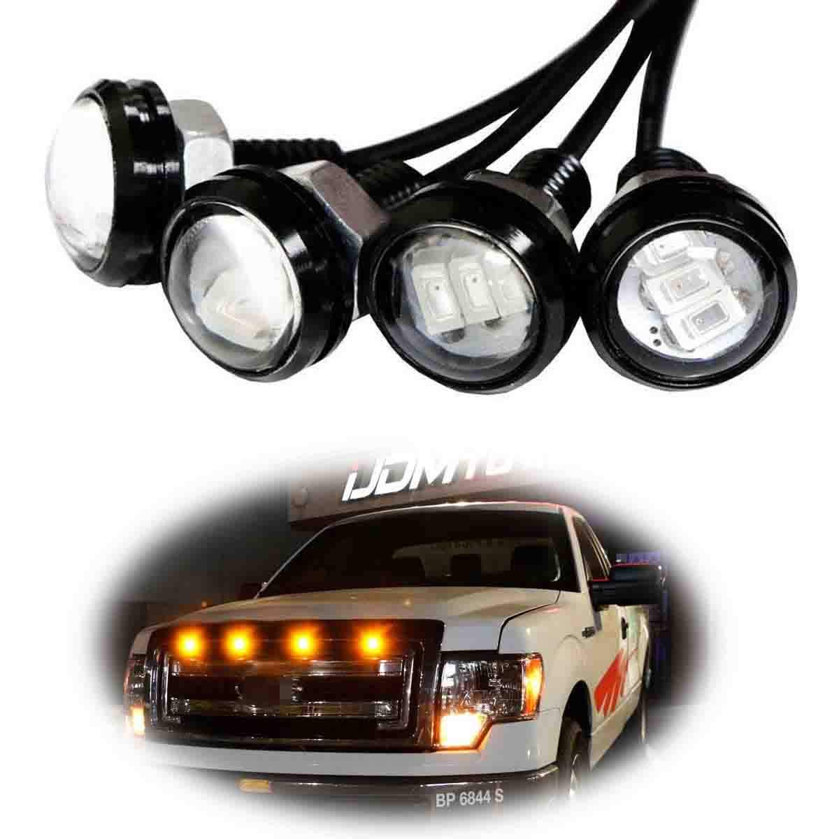 Partsam 3PCS 3000K Amber Yellow LED Lamps Eagle Eye Lights Front Grille Lighting Kit//License Plate Lights