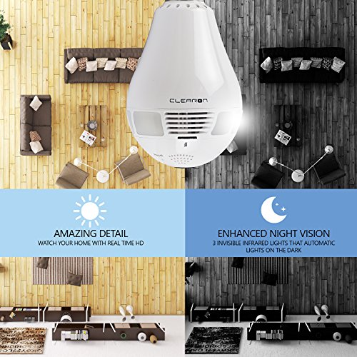 WiFi Light Bulb Camera - Night Vision CAM for Home Security - 360