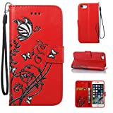 iPhone 8 Case, CUSKING Wallet Case Butterfly Flower Pattern Kickstand Shockproof Cover with Card Holder and Detachable Wrist Strap for Apple iPhone 8 - Red