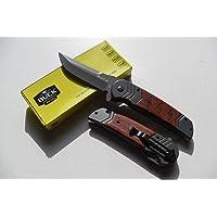 Lapetitecaverne CP-CA-063 - Couteau Pliant Massif Buck Lame Acier 9,5 Cm Manche Bois Gravé 12,5 Cm