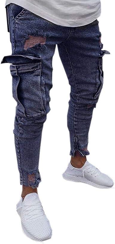 Oliviavan Pantalones Para Hombre Moda De Hombre Casual Vintage Elastico Slim Cremalleras En Los Bolsillos Moda Juvenil Para Hombre Pantalones Vaqueros Amazon Es Ropa Y Accesorios