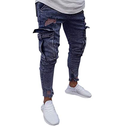 e0c20d533c5 Image Unavailable. Image not available for. Color  Men Jeans Men s Plus Size  Ripped Slim Fit Straight Zipper Broken Holes Denim Pants Vintage Style