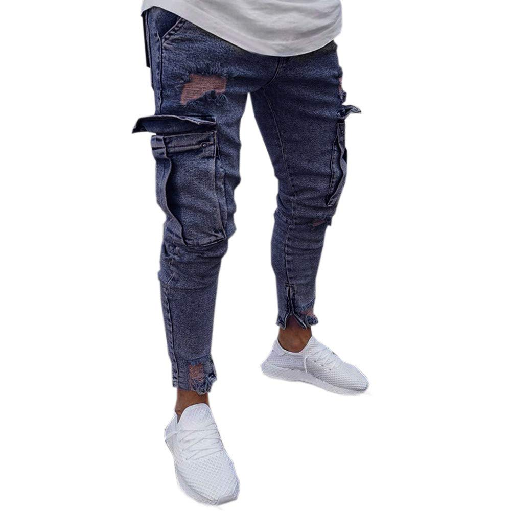AMSKY Men Denim Jeans, Fashion Slim Fit Biker Zipper Basic Skinny Frayed Distressed Ri