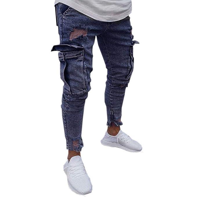 e4f2d838a89 iZHH Mens Stretch Denim Pants Distressed Ripped Slim Fit Pocket Jeans  Trousers(C-Navy
