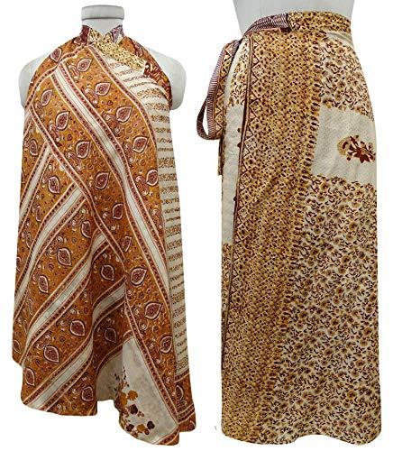 Wrap Pure Check Imprimer Indianbeautifulart Orange Summer Les Vintage et Beige Beach Dress Saree Rouge Femmes rversible Soie Bq1EvxEIwg